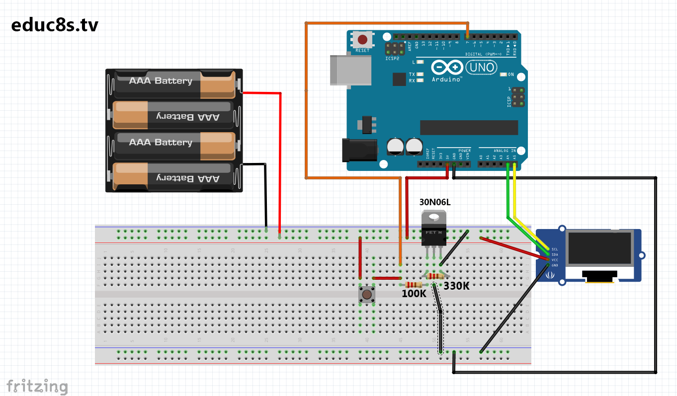 Auto Power Off Arduino Simple Circuit Watch Learn Build Fet Voltmeter Schematic Diagram At First We Place All The Parts On Breadboard 330k Resistor Between Gate And Source Of Mosfet