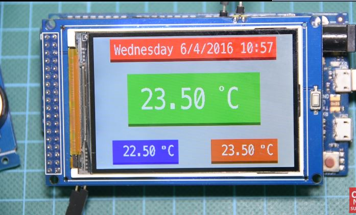 Arduino Real Time Clock and temperature Monitor with 3 2