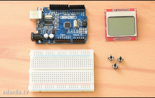 Arduino Nokia 5110 Menu - educ8s tv - Watch Learn Build
