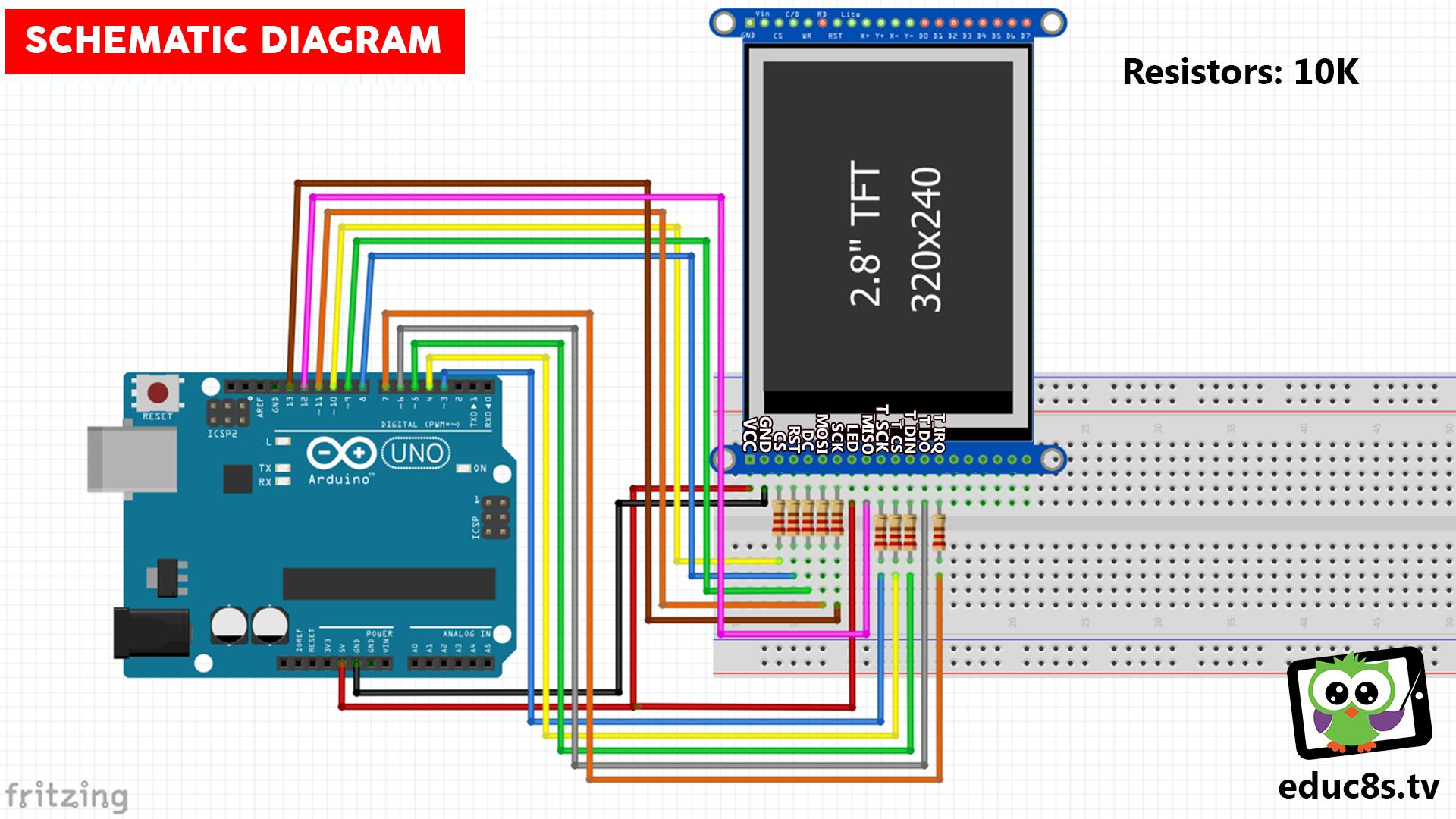 ILI9341 Touch Screen Arduino Uno