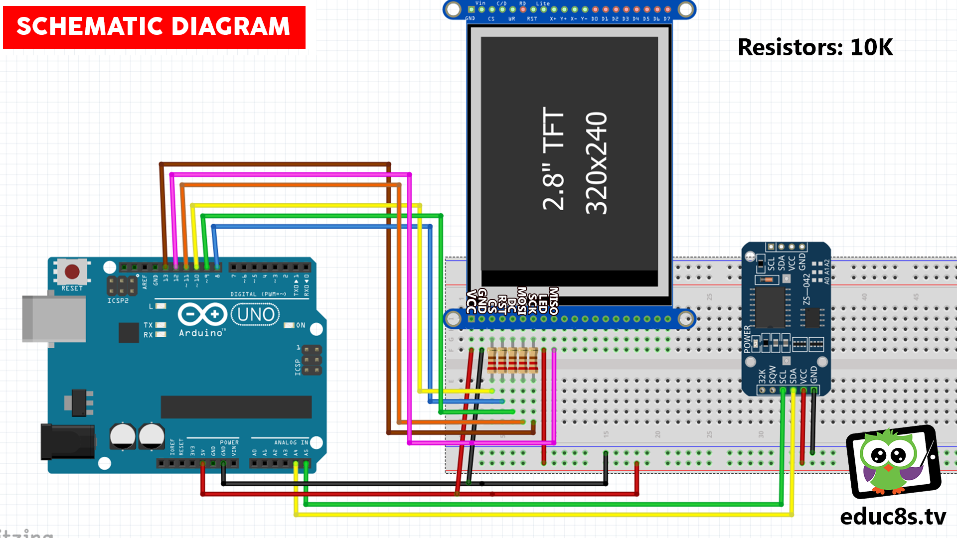 Arduino 28 Ili9341 Tutorial Watch Learn Build Tft Lcd Wiring Diagram Real Time Clock Project